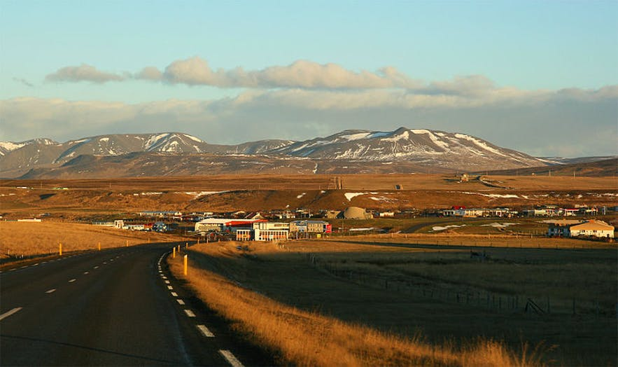 Blönduós is a town in north Iceland, pictured in winter.