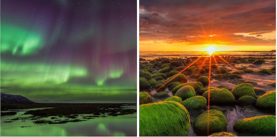 冰島的午夜陽光和北極光都是值得一看的美景