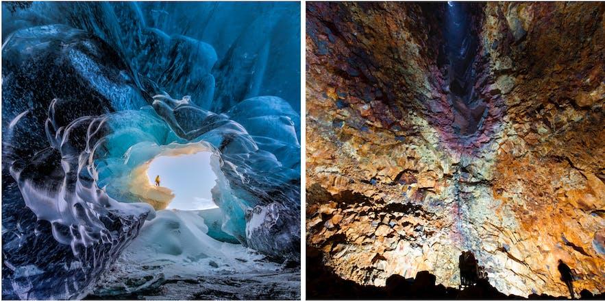 冰島藍冰洞vs火山內部探險