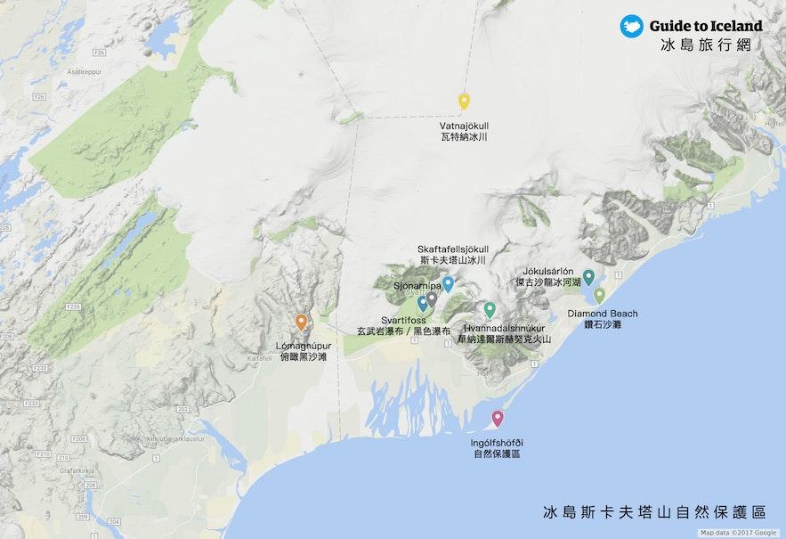 冰島斯卡夫塔山景點地圖