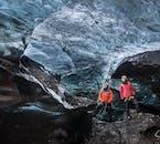 Clear ice inside an ice cave in Vantajökull National Park.