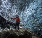 You'll be fitted with crampons and a helmet before stepping inside an ice cave.