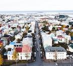 Skólavörðurstígur street, seen from Hallgrímskirkja church tower.