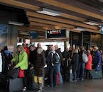 Travellers awaiting check in at the departure halls.