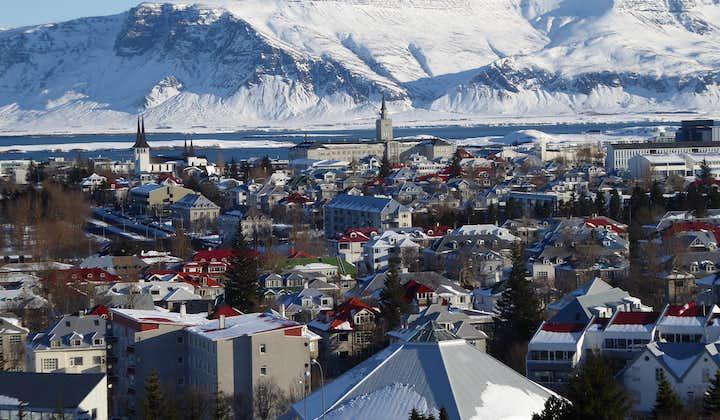 """雷克雅未克的""""城市山""""埃斯加山(Mount Esja)和冰岛首都市景相映成趣"""