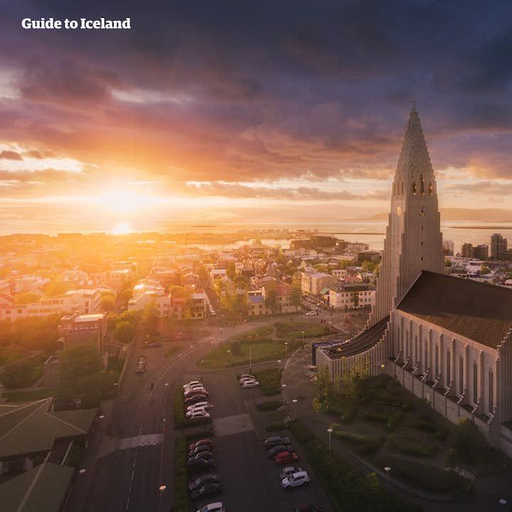 Hallgrímskirkja is a church atop a hill in Iceland's capital city.