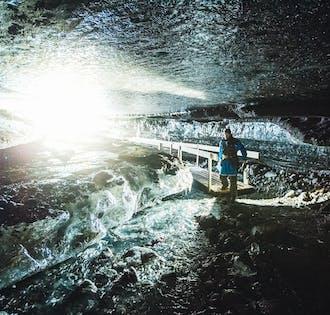 Motoneige sur glacier et visite d'une grotte de glace au Langjokull | Départ de Gullfoss