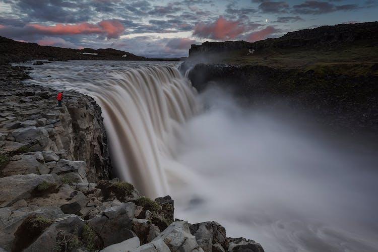 Europe's most powerful waterfall, Dettifoss, crashing into the Jökulsárgljúfur canyon with a terrifying roar.