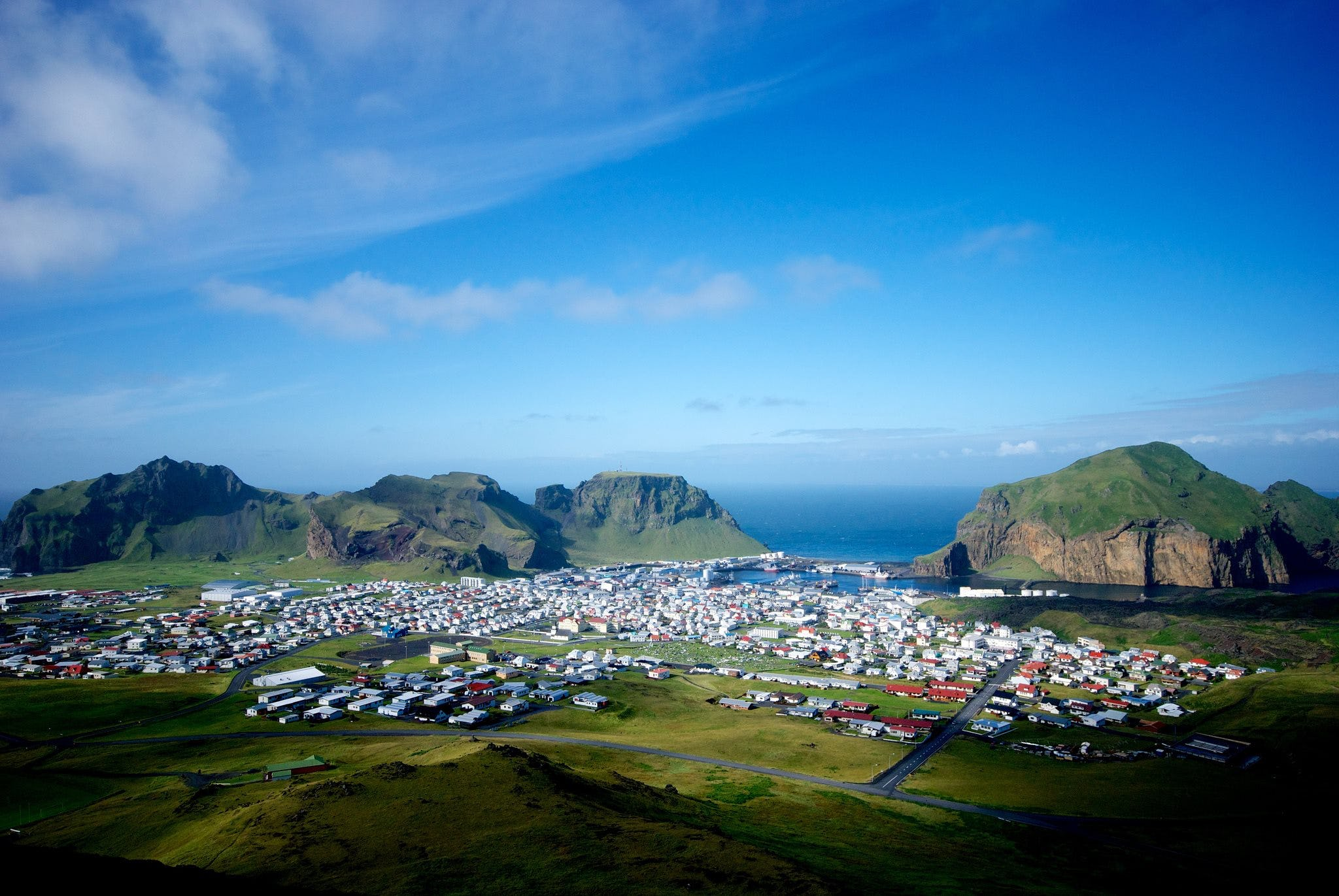 The beautiful Heimaey is a town and island in the Westman Islands.