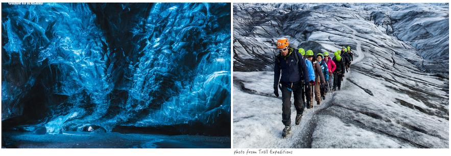 參加藍冰洞旅行團和冰川健行旅行團體驗有所不同