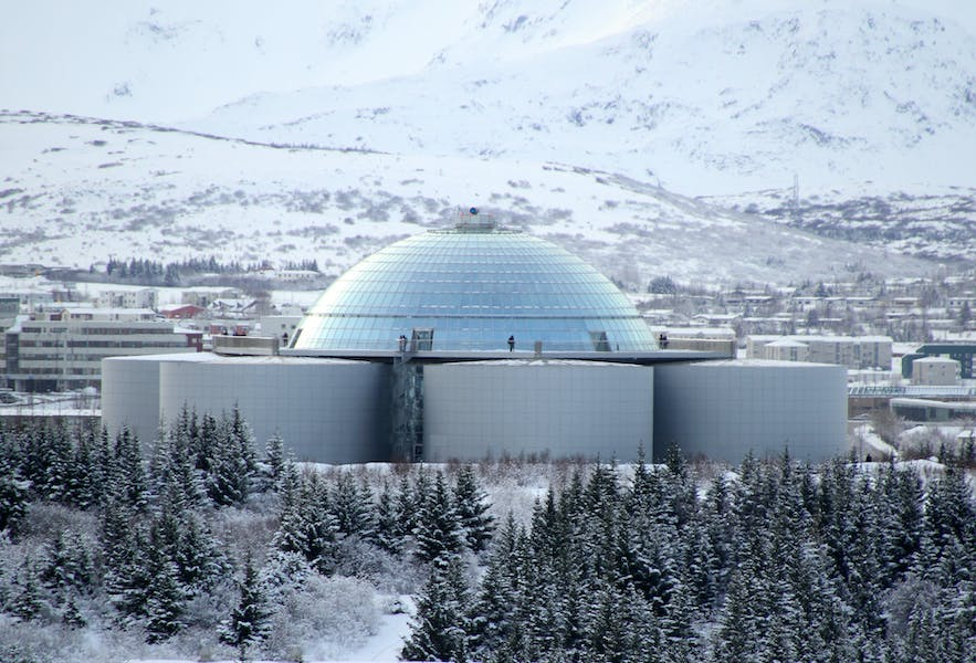 Perlan Museum and Observation Deck, as photographed in the wintertime.