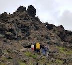 Travellers enjoying a day in the Dimmuborgir lava field.