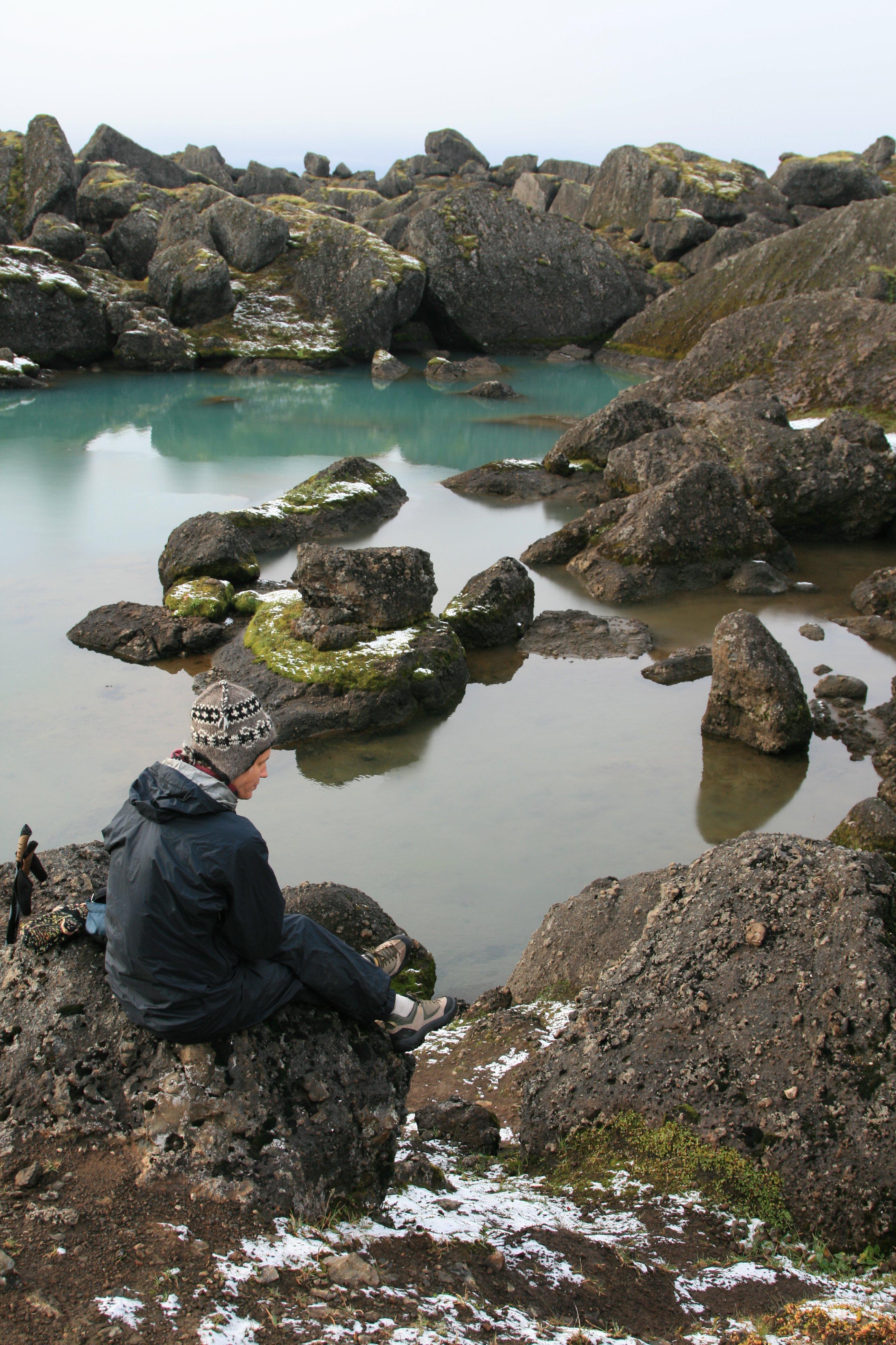The rocky surface of Stórurð hiking trail.