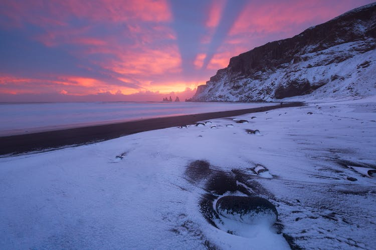 The charming little town of Vík on the South Coast dusted with snow.