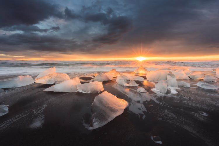 Icebergs wash up on the impressive Diamond Beach near Jökulsárlón glacier lagoon.