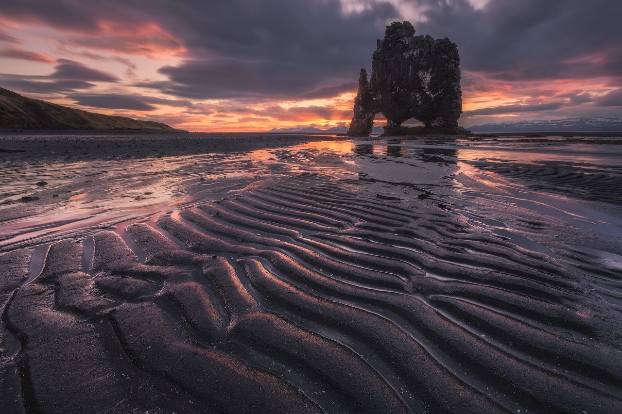 The Ominous Hvítserkur rock stack at sunset.