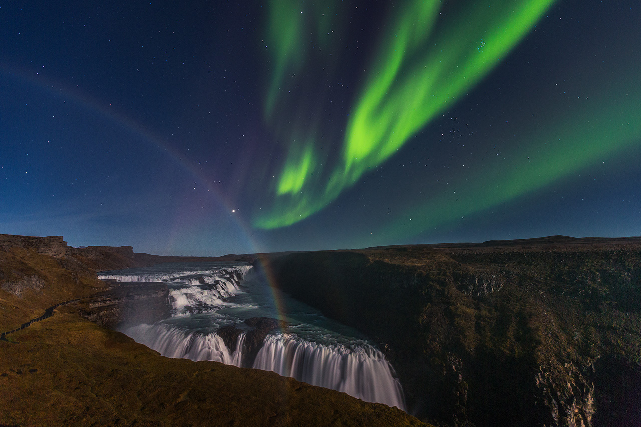 Gullfoss waterfall, as captured in the glow of autumn's light.