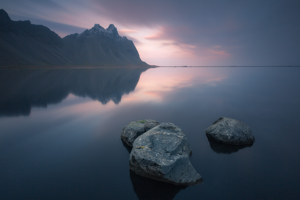 Ice sheets lay at the base of Vestrahorn ('Batman Mountain'), located at Stokksnes Beach on the South East coast of Iceland.