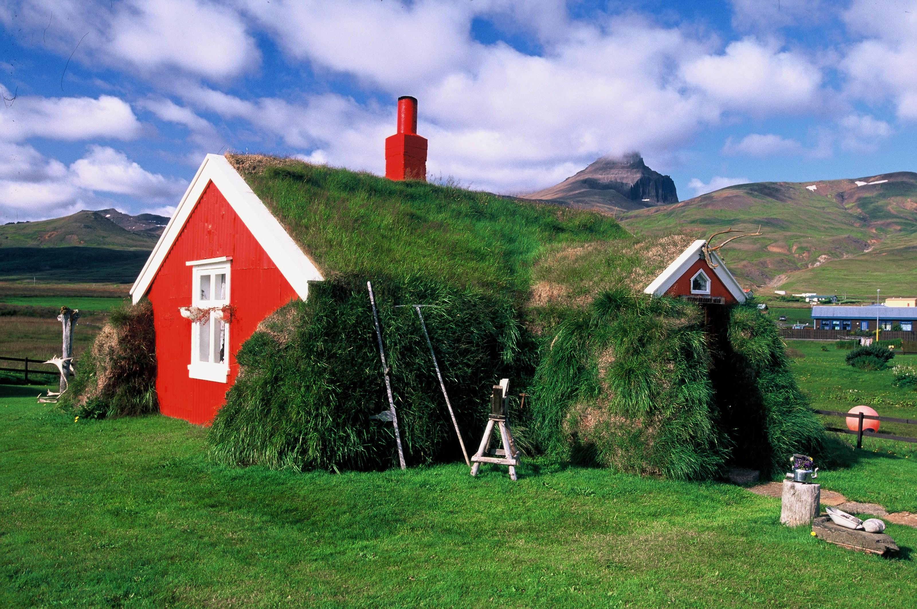 在冰岛东峡湾Borgarfjörður Eystri小镇的传统草顶房(turf)