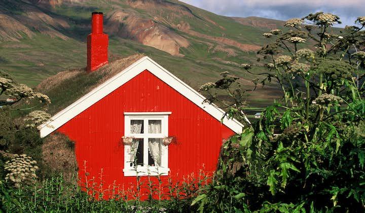 A red painted turf house in Borgarfjörður Eystri, east Iceland.