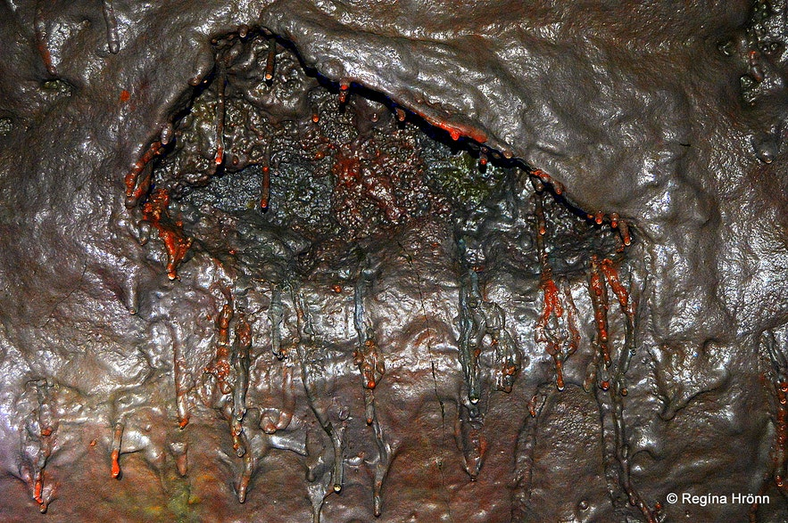 Lava Formations and Colours in Víðgelmir Lava Cave in West-Iceland