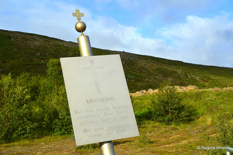 Sign by Krosslaug in Lundarreykjadalur West-Iceland