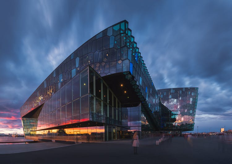 The picturesque Harpa Concert Hall in downtown Reykjavík.