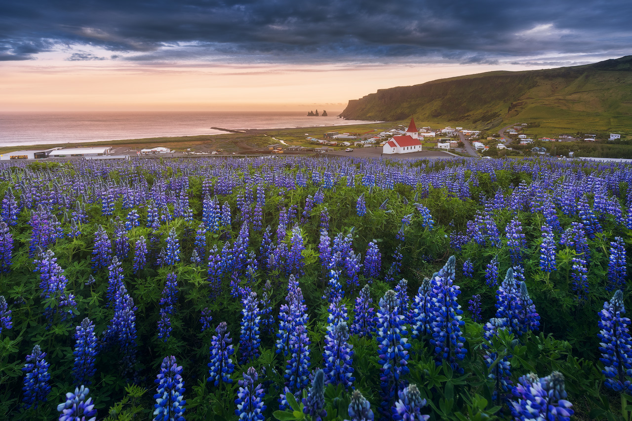 A view of the beautiful Víkurkirkja church and the Reynisdrangar sea stacks on the South Coast.