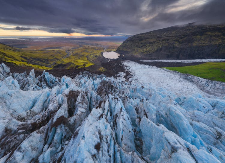 The view from a glacier at Skaftafell Nature Reserve.