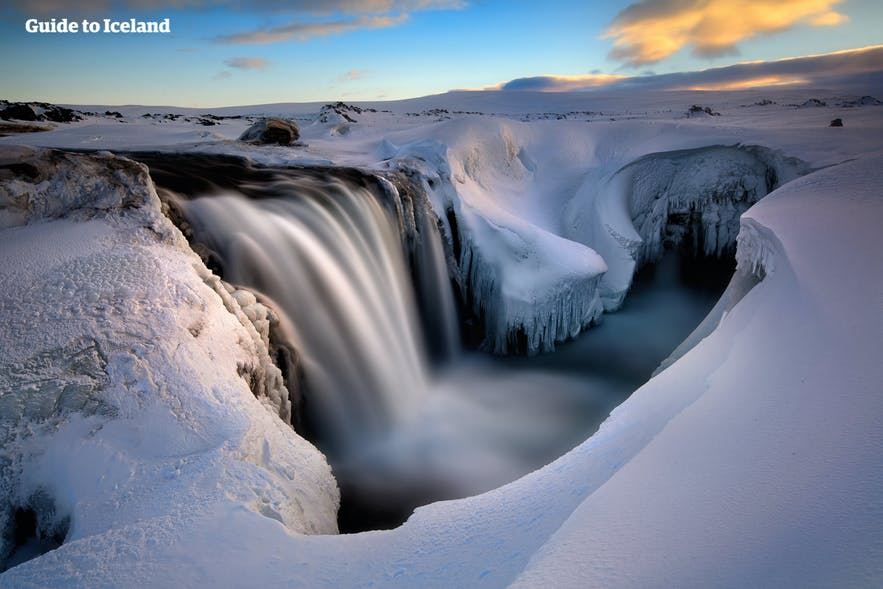 Located in the north highlands, Hrafnabjargafoss is hard to access in winter.