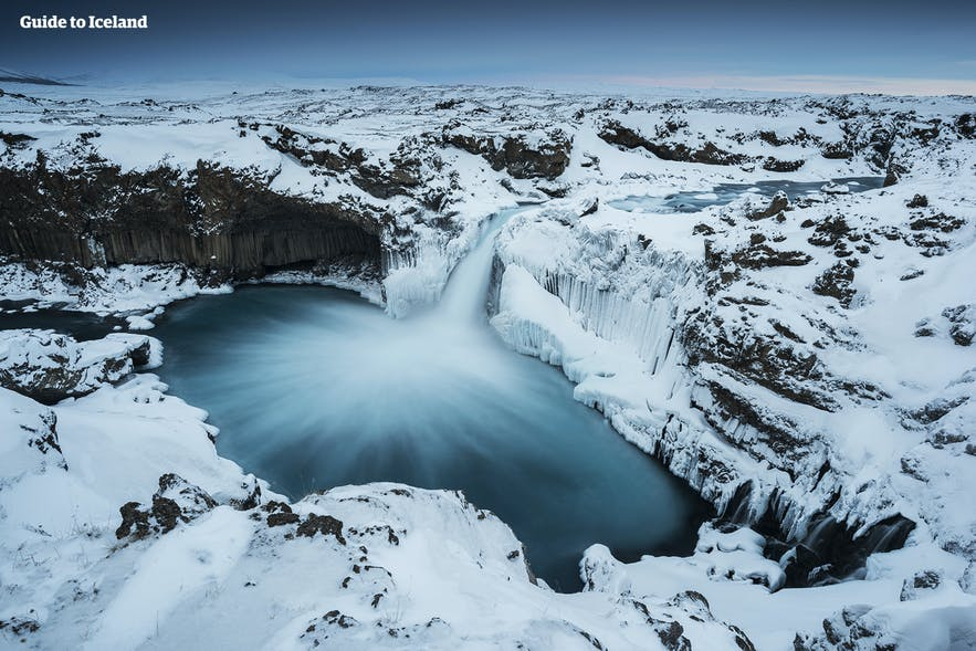 Aldeyarfoss is beautiful in winter, with fantastic ice sculptures.