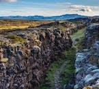 Almannagjá gorge in Þingvellir national parliament park is a rift between the two continental plates.