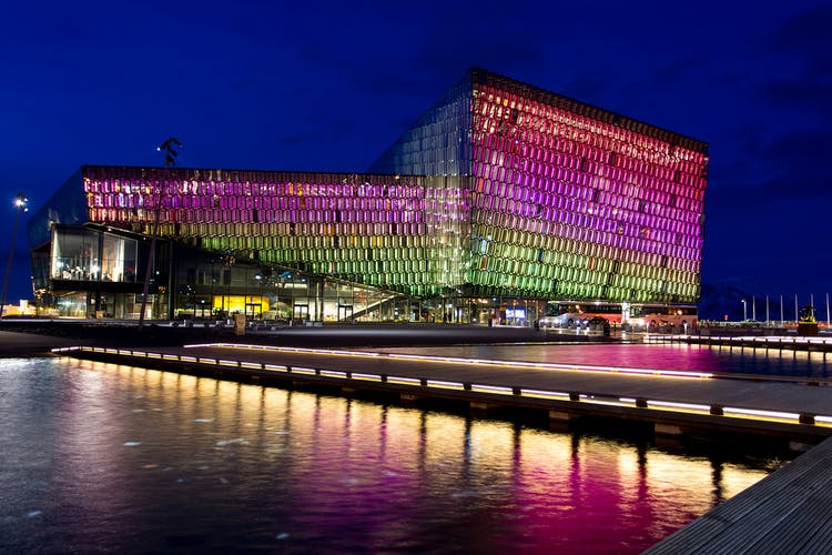 Harpa concert hall in downtown Reykjavík has a dancing light display in its massive glass dome, that changes quite frequently.
