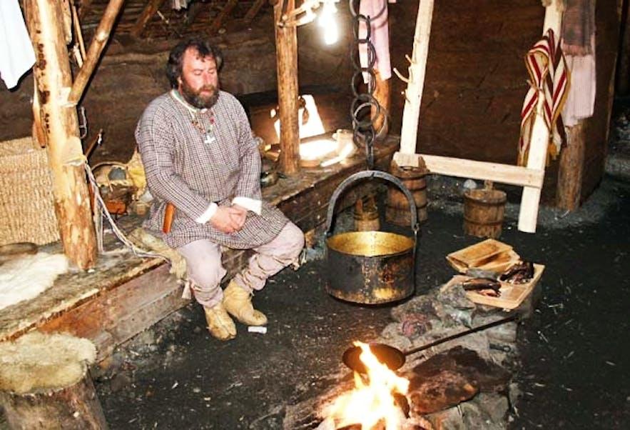 一位典型的传统古挪威人在舒适的家中放松