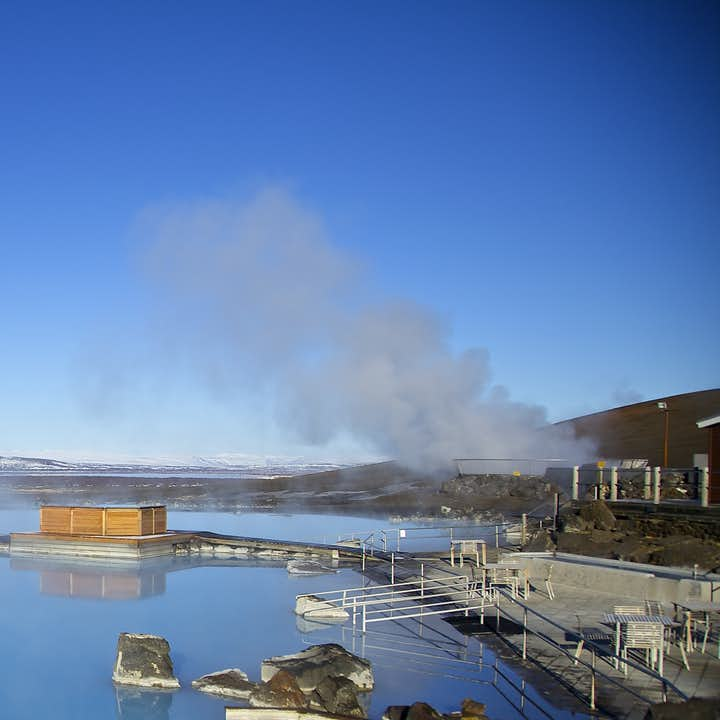 The azure waters at the Mývatn nature baths are welcoming and warm.