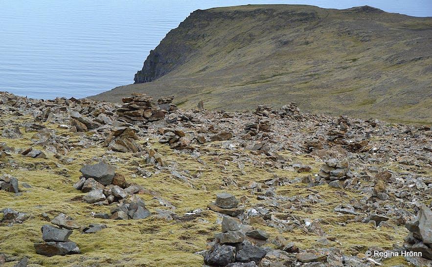 Cairns at Látraheiði heath Westfjords