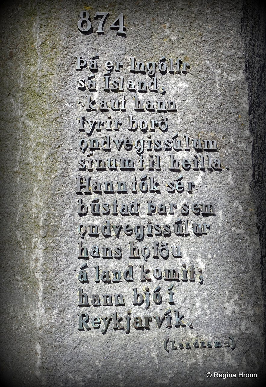 The inscription of one of the high seat pillars at Ingólfstorg square in the old centre of Reykjavík