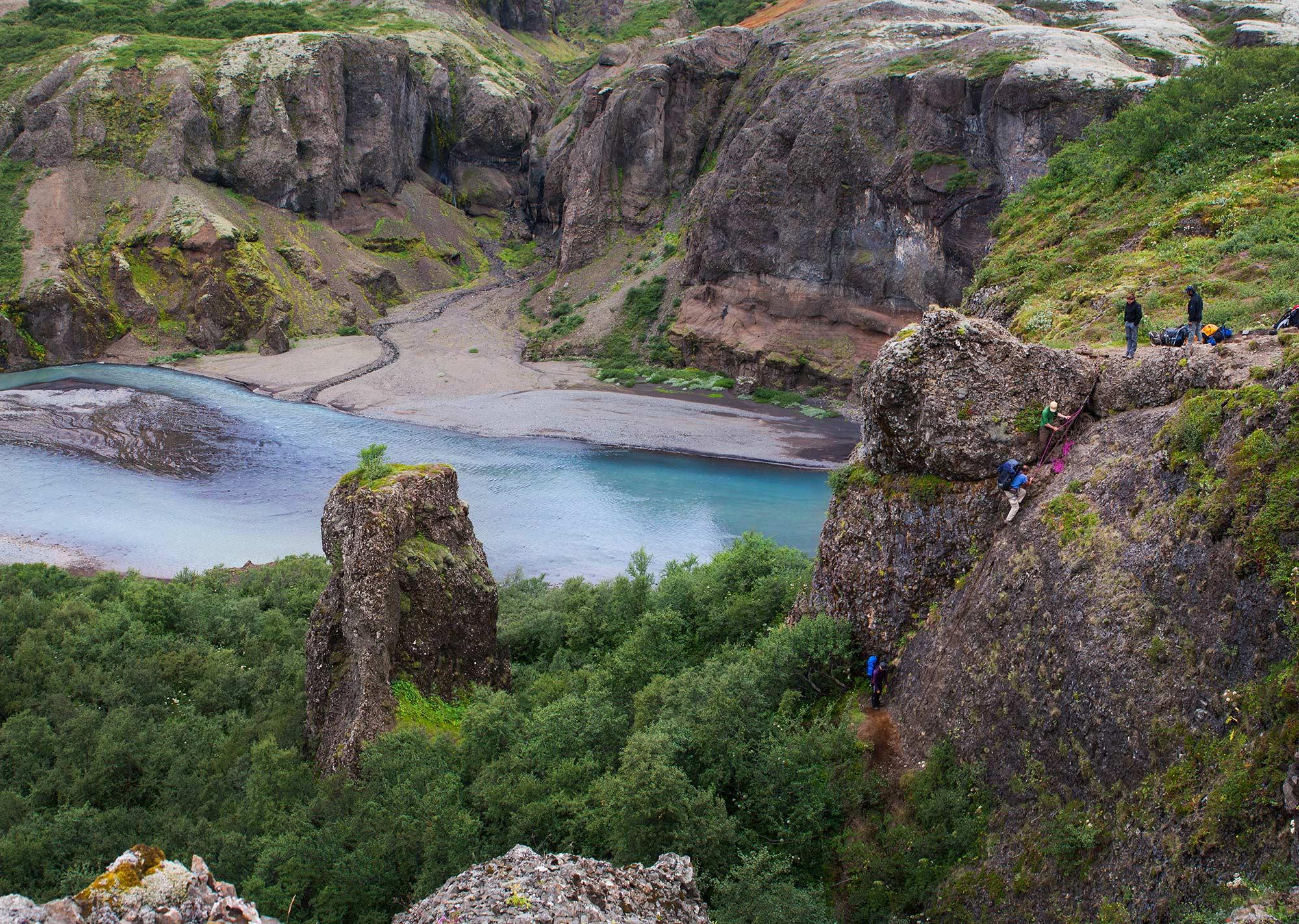 Nupsa河从冰岛中央内陆高地的Nupsstadaskogar峡谷潺潺流过
