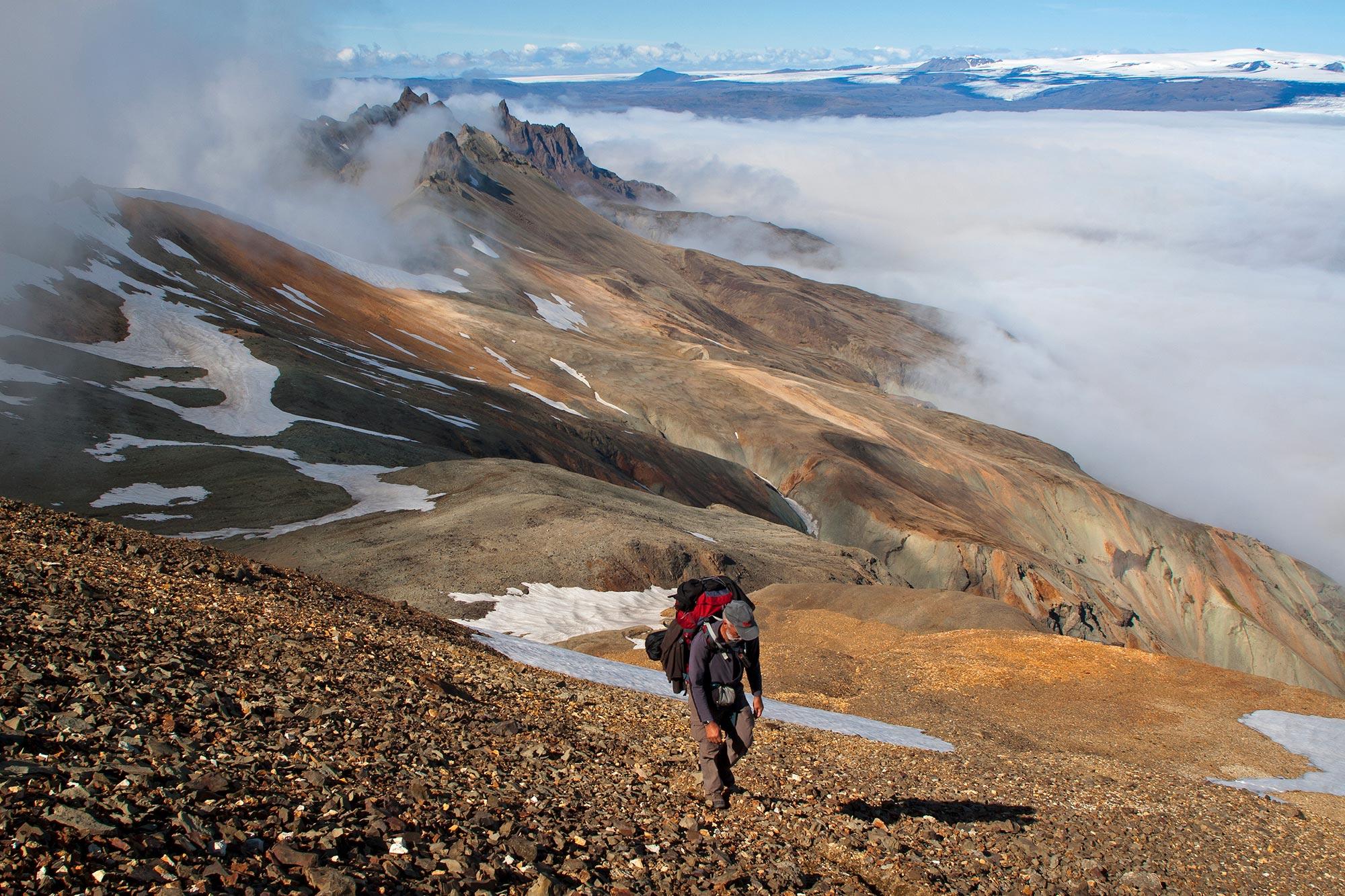 A hiker on the Nupsstadaskogur to Skaftafell Trekking Tour in the Highlands