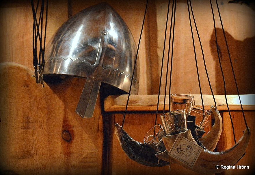 Viking stuff inside Ingólfsskáli longhouse replica