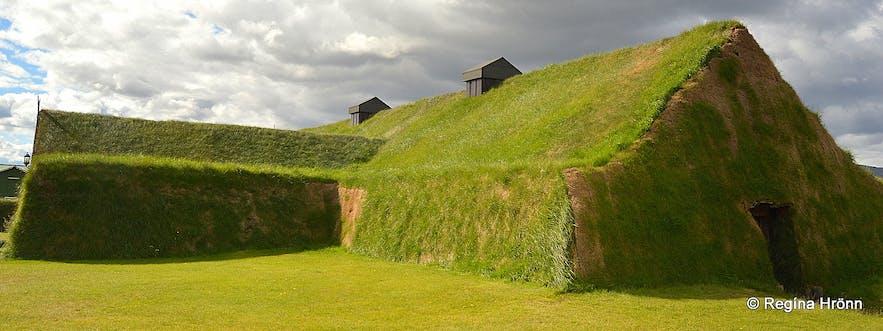 The Viking Settler Ingólfur Arnarson, Mt. Ingólfsfjall and Ingólfsskáli Turf Longhouse in South-Iceland
