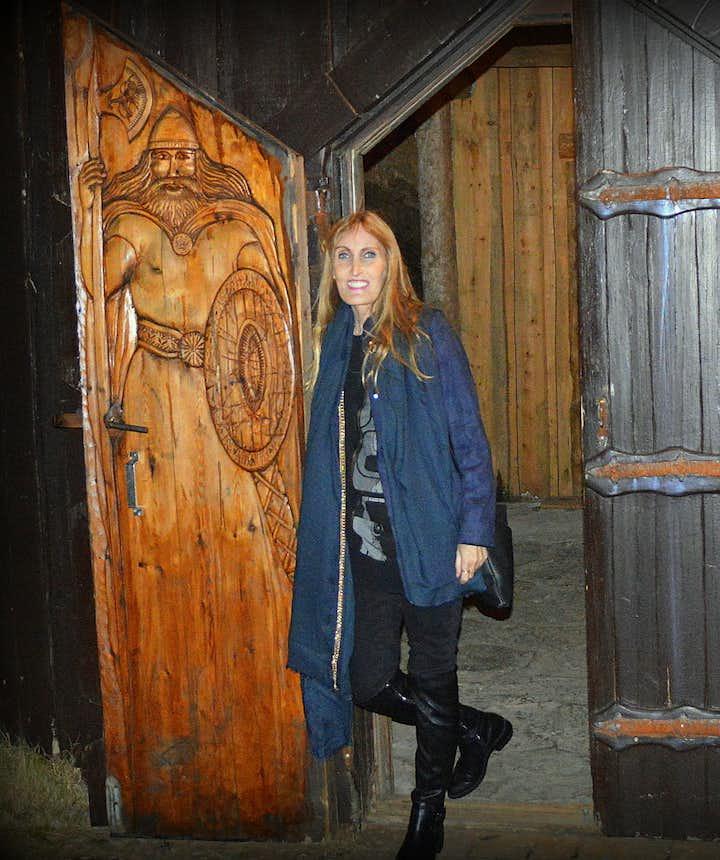 Regína at Ingólfsskáli turf longhouse replica in South-Iceland