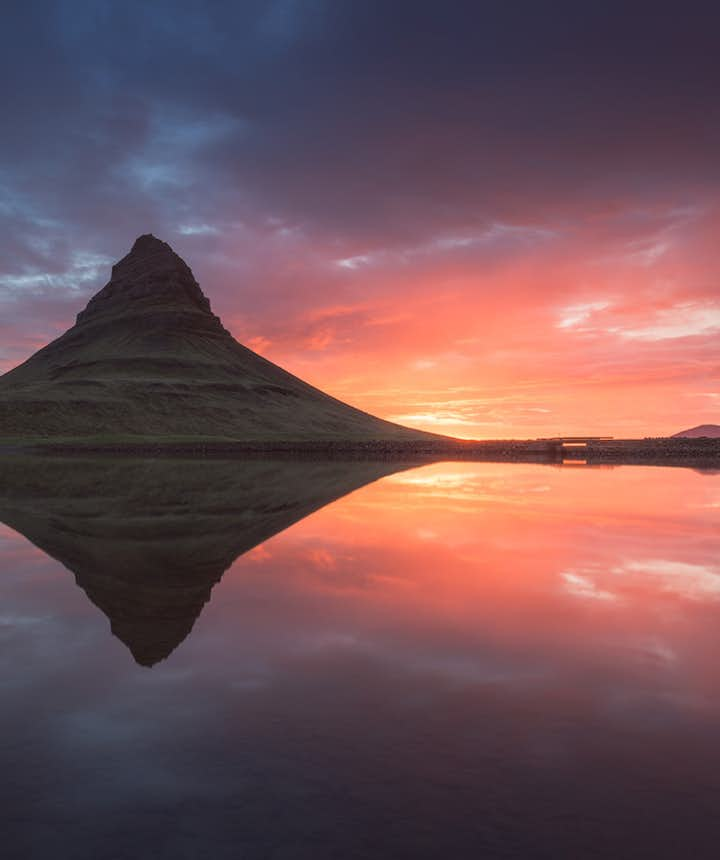 The still weather at Kirkjufell pictured here may not last for very long...