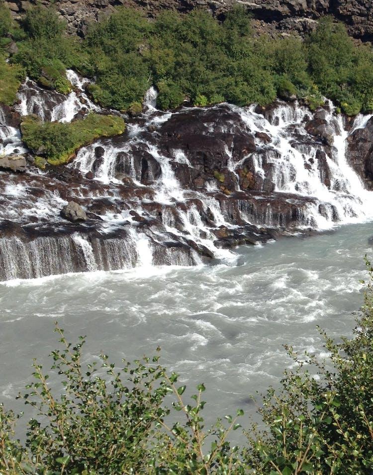 Hraunfossar waterfalls, in Borgarfjörður, West Iceland