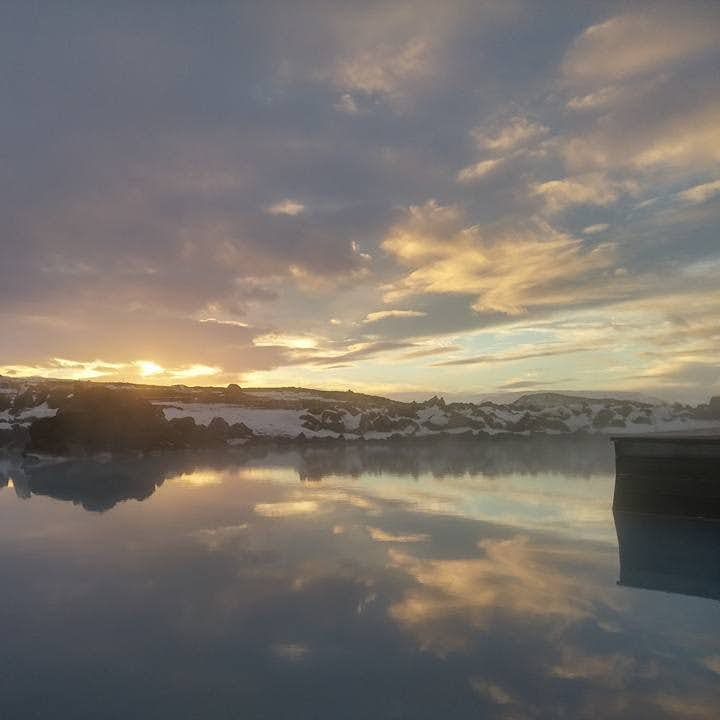 A gorgeous autumn evening at the nature baths, north Iceland.