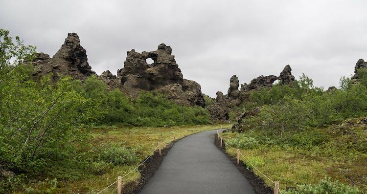 Dimmuborgir lava fields, crowned with greenery in summer.