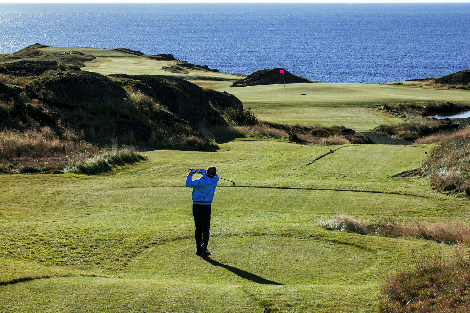 Views of the North Atlantic Ocean make golfing in Iceland a unique experience.