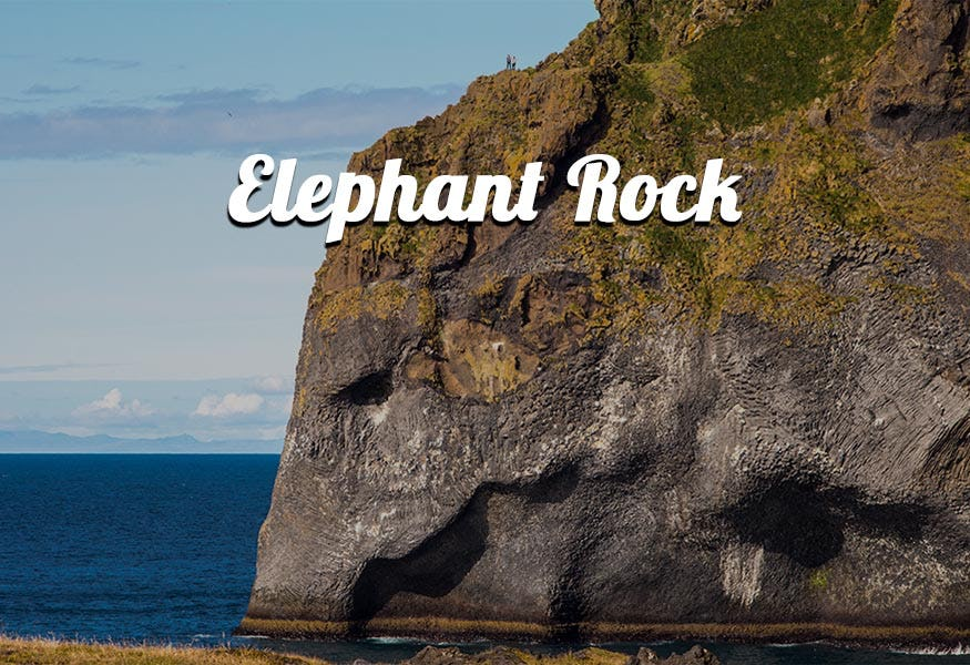 Elephant rock seen from the Herjólfsdalur shore.