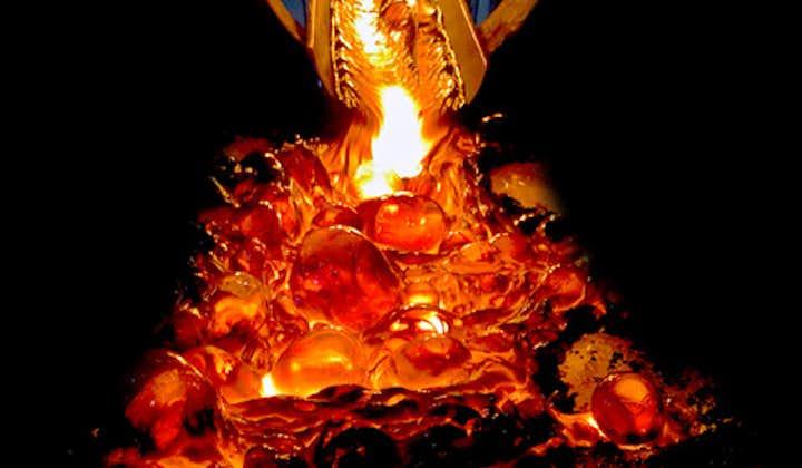 Red-hot molten lava