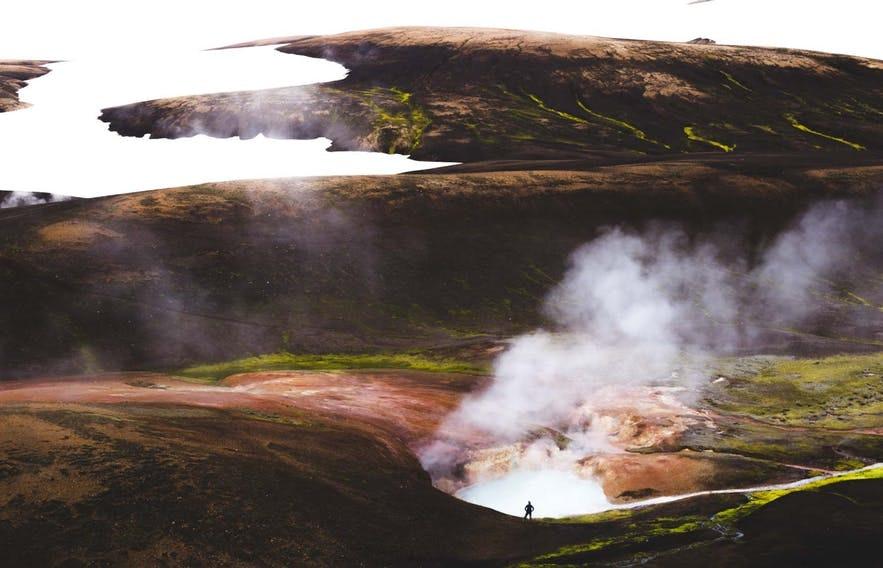 冰島中央高地徒步路線Laugavegur的地熱